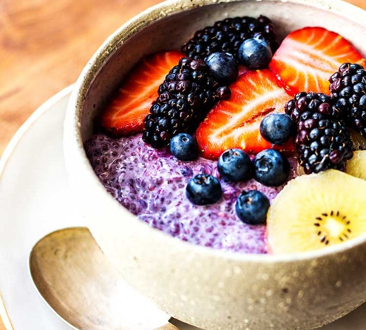 Black Currant and Overnight Oats with Chia Seeds